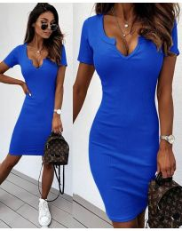 Изчистена рокля в тъмно синьо - код 8829