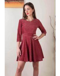 Стилна рокля от бляскава материя в бордо - код 923
