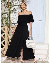 Дълга дамска рокля в черно - код 698