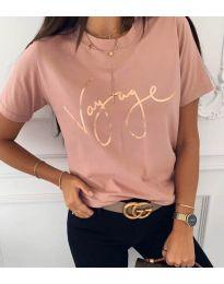 Дамска тениска в розово - код 3350