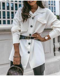 Дамска риза с колан в бяло - код 4848