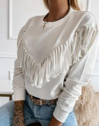 Дамска блуза с ресни в бяло - код 12035