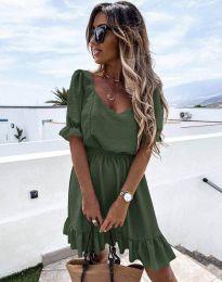 Кокетна рокля в масленозелено - код 6460