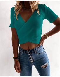 Дамска тениска в цвят тюркоаз - код 1102