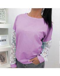 Дамска блуза в лилаво с дантелени ръкави - код 4060