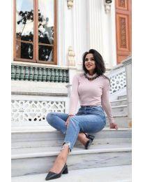 Елегантна дамска блуза в цвят пудра - код 0514