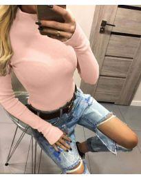 Дамска блуза с поло яка в розово - код 5256