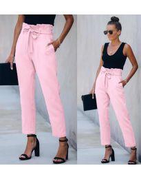 Спортно - елегантен панталон в розово - код 6077