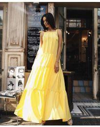 Ефирна дълга рокля в цвят жълто - код 1105