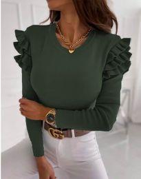 Дамска блуза в масленозелено с къдрички - код 1653