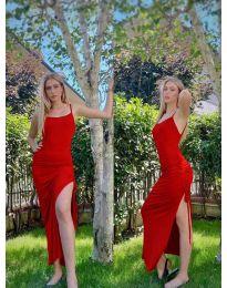 Атрактивна дълга рокля в червено - код 7858
