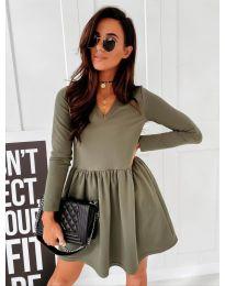 Дамска рокля в маслено зелено - код 0060