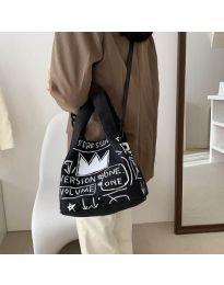 Дамска чанта с принт в черно - код B537