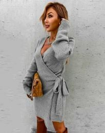 Ефектна рокля в сиво - код 9846