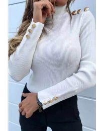 Блуза в бяло по тялото - код 378