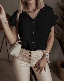 Дамска риза с къдрици в черно - код 4136