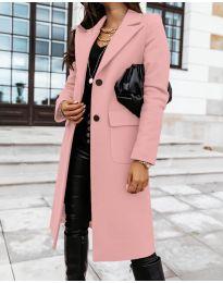 Дълго дамско палто в розово - код 3435
