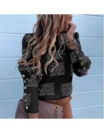 Дамска черна риза с принтиран текст - код 784