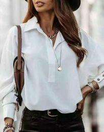 Дамска риза в бяло - код 4218