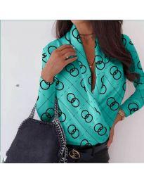 Дамска риза-боди с отворено деколте в цвят тюркоаз - код 688