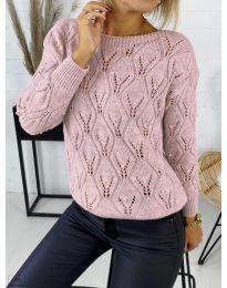 Дамска пуловер в цвят пудра - код 392