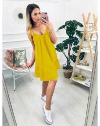 Дамска рокля в цвят горчица със свободен силует - код 008