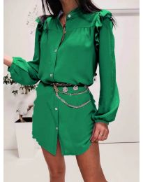 Елегантна рокля тип риза в зелено - код 3433