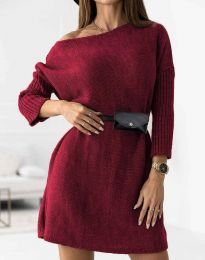 Дамска рокля в цвят бордо - код 5142