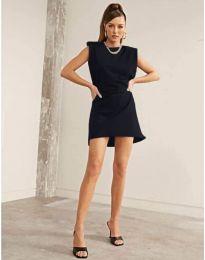 Свободна къса дамска рокля в черно - код 625