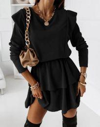Кокетна дамска рокля в черно - код 12042
