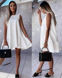 Свободна дамска рокля в бяло - код 3456