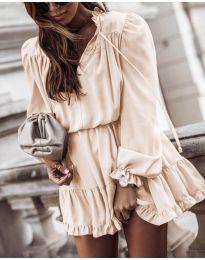 Свободна дамска рокля в бежово - код 3231