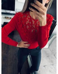 Стилна блуза  в червено  - код 6660