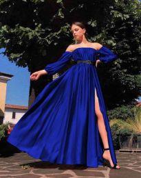 Елегантна дълга дамска рокля в синьо - код 1879