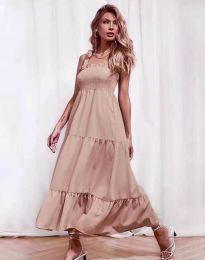 Ефирна дамска рокля в цвят пудра - код 1729
