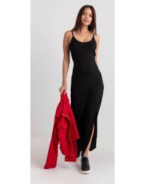 Дълга рокля с цепка в черно - код 3000