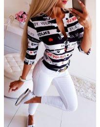Ефектна дамска риза в черно и бяло - код 118