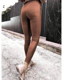 Втален дамски панталон в кафяво - код 2788