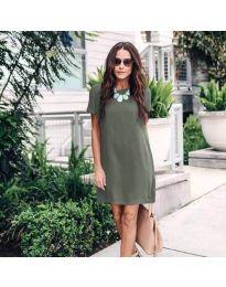 Свободна дамска рокля в маслено зелено - код 659