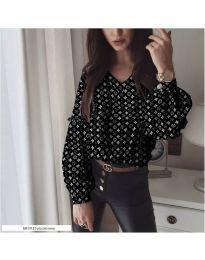 Дамска черна риза с моден десен - код 838 - 1