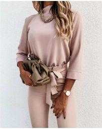 Дамска блуза в цвят пудра - код 9432