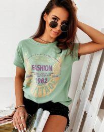 Атрактивна тениска с принт в цвят мента - код 4658
