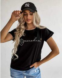 Дамска тениска с принт в черно - код 4803