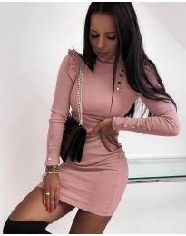 Елегантна рокля по тялото в розово - код 8484