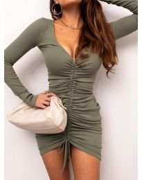 Атрактивна рокля в масленозелено - код 12069