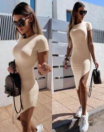 Стилна дамска рокля в бежово - код 8391