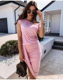 Дамска спортно-елегантна рокля в розово - код 138