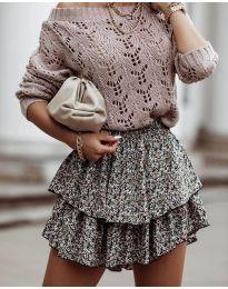 Дамски пуловер  в цвят пудра - код 5966