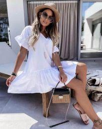 Изчистена дамска рокля в бяло - код 6144