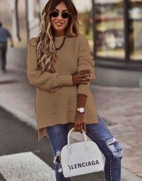 Дамски пуловер в кафяво - код 0698